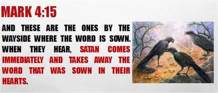 Image result for satan comes immediately and steals the word